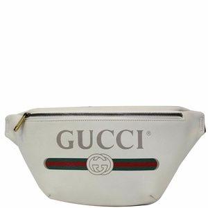 GUCCI Print Leather White Belt Waist Bum Bag